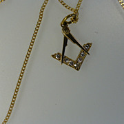 Diamond MASONIC Diamond Pendent & Chain