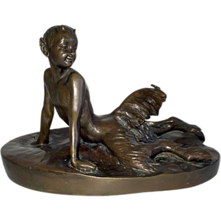 Satyr Child with Butterfly Art Deco Sculpture