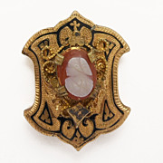 Victorian Enamel Cameo Gold Filled Watch Slide