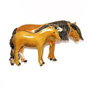 Sterling Enamel Cloisonne Horses Pin S925