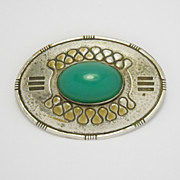 Unique Arts & Crafts Hammered Brooch With Cabochon