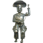 Hand Forged Figural Mexican Silver Brooch