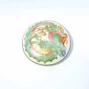 Old Signed Satsuma Dragon Brooch Japanese As Is