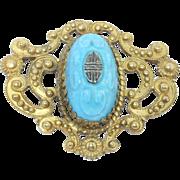 Czech Art Deco Asian Motif Ornate Sash Brooch