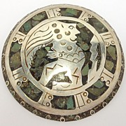 Large Aztec Figural Mexican Silver Brooch Pendant