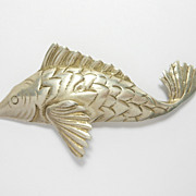Deco Sterling Figural Detailed Fish Brooch