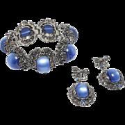 Vintage Chunky Moonglow Thermoset Vintage Bracelet Set
