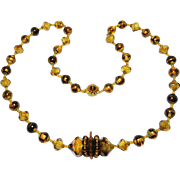 Bold Unusual Vintage Miriam Haskell Glass Necklace