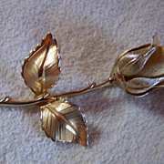 GIOVANNI ~ Vintage Gold-Toned Rose Brooch ~ One of a Pair. See #1053