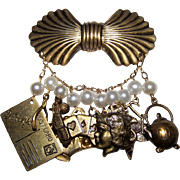 Charming Chatelaine With Vintage Charm ~ 11 Adorable Charms Hang From 10 Faux Pearls  ~  Rare Vintage Piece