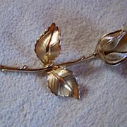 Vintage GIOVANNI Golden Rose Brooch