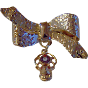 Vintage RIBBON BOW Drop Brooch With Hanging B.P.O.E Fraternal Medallion