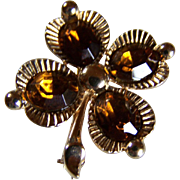 REDUCED ~ TRIFARI TOPAZ (Crystals) Flowers ~ Vintage Floral  Brooch In Perfect Vintage Condition
