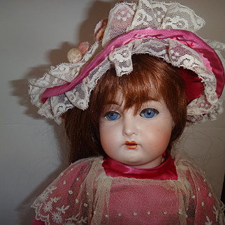 """Antique 18"""" Bisque Head mystery doll Marked """"S"""""""