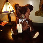 "Teddy Bear Chocolate Brown mohair 11"" Tall so cute!"
