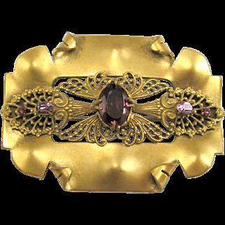 Victorian Brass Purple Glass Stone Sash Pin
