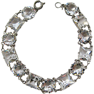 Art Deco Sterling Open Backed Square and Round Crystal Bracelet