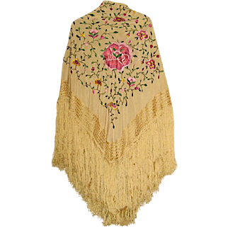 Vintage Silk Embroidered Shawl or Piano Scarf