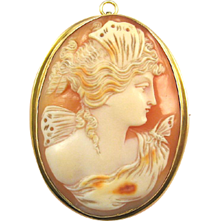 10K Gold Mounted Psyche Shell Cameo Pin Pendant
