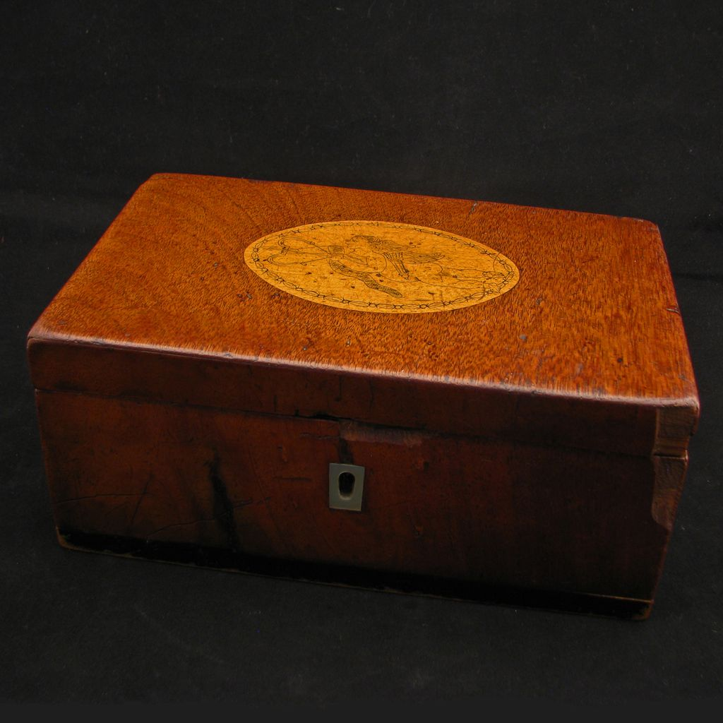 Antique Early American 18/19th century wood jewelry casket with incised inlay