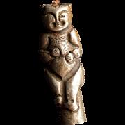 Antique Chinese paktong boy figural rod or stick cap circa 19th century