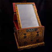 Antique Chinese gold lacquered wooden mirror box with drawers late 19th century