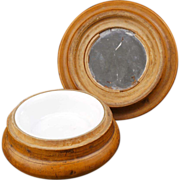 Wooden treen art ladies powder compact with mirror late 19th century