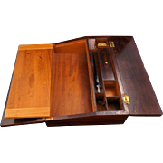 Tropical hardwood travel desk with inlaid mother of pearl 19th century