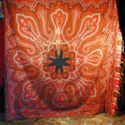 Circa 1860 Antique Civil War era Kashmir embroidered paisley shawl