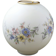 Victorian pale yellow glass lamp globe with painted flowers late 19th/early 20th century