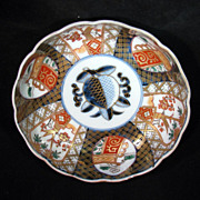 """Meiji Period Japanese Imari fluted 6"""" bowl with blue peach in center c. 1900"""
