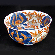 Deep Japanese Porcelain Imari Bowl with Moths and Floral 19th Century