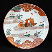 Colorful Porcelain Japanese Imari Plate with Swimming Mandarin Ducks - mid 19th Century