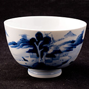 Blue and White Japanese 19th Century Porcelain Teacup with Landscape