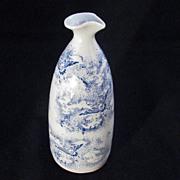 Vintage Japanese Blue Stencil Handmade Porcelain Sake Bottle with Birds Soaring into Clouds