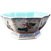 Six sided Chinese Porcelain Bowl with Goldfish designs and Tongzhi reign mark (1862-74)