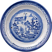 Canton ware export Chinese porcelain blue and white hand painted and thrown bread and butter/dessert plate 18th/19th century