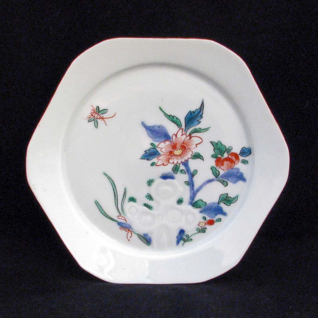 Kakiemon Style Early 20th Century Hexagonal Japanese Porcelain Dish