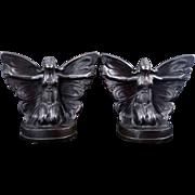 Art Nouveau butterfly girl bronze clad book ends circa 1925