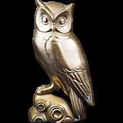 Vintage brass deco owl single bookend or doorstop 20th century