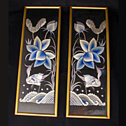 Pair of framed Chinese silk on silk bird embroideries