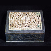 Vintage Chinese Metal Box with Carved Bone Top and  Brass Inlays - Early 20th Century