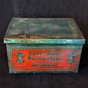 Lithographed Victorian Marshmallow Tin Box from the Loose-Wiles Company ca 1900