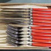 REDUCED Marbled Red Bakelite Flatware Set for Six