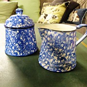 Blue Stangl Town & Country Creamer & Covered Sugar Bowl