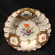 """Meissen 11.5"""" charger bowl with Dresden flowers and heavy gold gilt Mint"""