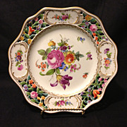 """Carl Thieme Potschappel 8.5"""" reticulated tazza with Dresden flowers and gold gilt Mark #1 circa 1901 Mint condition"""