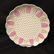 """Meissen shell and basket weave mold plate salmon and gold gilt with rare roman numeral mark 9.25"""" circa 1820s"""