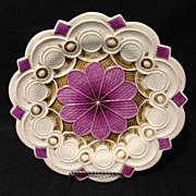 """Meissen Roman Numeral period Baroque purple and gold 8.75"""" plate 1810's Rare and Unique"""