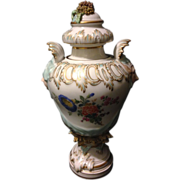"""KPM Berlin Rococo gold gilt 18th century 8"""" vase with circus theater face handles and Dresden style flowers"""